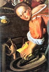 Vincenzo Campi: donna che grattugia il Parmigiano